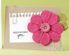 Paper Crafts & Scrapbooking: Fixated on Flowers - Teri Anderson Scrapbook Journal, Scrapbook Cards, Card Making Tutorials, Making Ideas, Paper Crafts Magazine, Homemade Greeting Cards, Ribbon Bookmarks, Handmade Flowers, Felt Crafts
