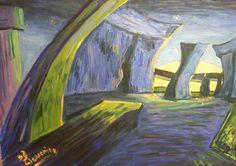 ORIGINAL Oil Painting: Stonehenge with falling moon  . von Sieweart auf Etsy