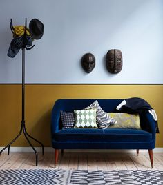 I am still on a blue velvet high! Loving this blue velvet sofa set up against color blocked walls in…