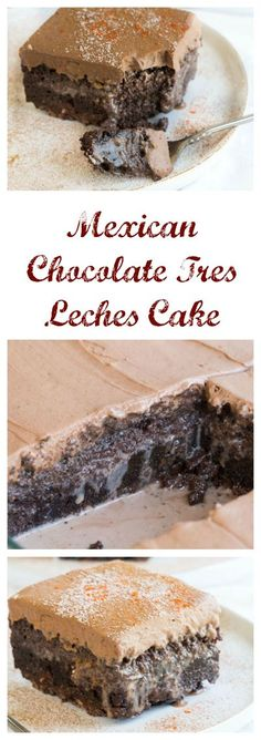 Mexican Chocolate Très Leches Cake Super good but super rich. Would totally make again if I was looking for a Tres Leches cake; I'm just not usually needing to make this type of dessert Mini Desserts, Spanish Desserts, Just Desserts, Delicious Desserts, Yummy Food, Traditional Mexican Desserts, Kosher Desserts, Hispanic Desserts, Meringue Desserts