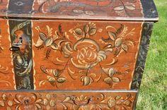 High Quality Rosemaled Norwegian Chest Dated 1825 Folk Art Scandinavian Norway | eBay