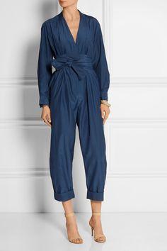Victoria, Victoria Beckham | Belted silk and cotton-blend jumpsuit | NET-A-PORTER.COM