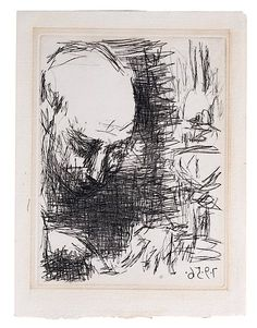 : Portrait by Pablo Picasso, Drypoint on Paper