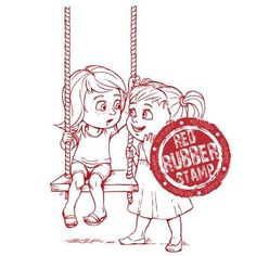 Girl's Secret Swing Unmounted Red Rubber Stamp ~ $6.20 at makeitcrafty.com