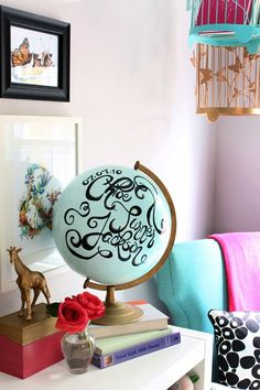 Cute idea for a thrift store find globe, would be cool with chalkboard paint too!