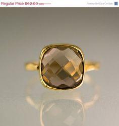 SALE - Gemstone Ring - 18k Gold Vermeil Ring - Smokey Quartz Ring - Bezel Set Ring - Stackable Ring #DelezhenPinSept