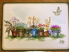 Art Impressions Rubber Stamps: Wonderful Watercolor.  Handmade card with flower pots, metal  bucket, pail, birds, grass, flowers, foliage.
