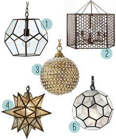 selection of pendant lights: 1. Abbot Pendant ($795) 2. Honeycomb Chandelier ($169) 3. Marmont Pendant ($275) 4. Olivia Star Pendant ($149) 5. Seeded Honeycomb Pendant ($119)