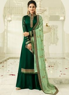 Buy latest Party Palazzo Suit Salwar Kameez at very attractive prices. Shop Indian Ethnic Wear Party Palazzo Suit Salwar Kameez for new trends. Indian Designer Outfits, Indian Outfits, Designer Dresses, Ethnic Outfits, Suit Fashion, Fashion Pants, Fashion Dresses, Indian Salwar Kameez, Salwar Kameez Online