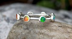 Eternity Opal Band - Multi Gemstone ring on one band - Opal Stacking ring ~ Multiple gemstone ring ~Opal ring -Sterling silver opal ring