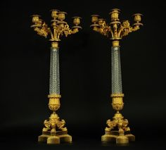LARGE PAIR OF EMPIRE BACCARAT CRYSTAL ORMOLU CANDELABRA