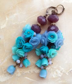 Earrings with flowers roses of polymer by Accessories4women