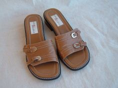 LKN Ladies 7 M ~ Madison & Max ~ Tan Leather Slide SANDALS http://www.ebay.com/itm/291138828770?ssPageName=STRK:MESELX:IT&_trksid=p3984.m1558.l2649