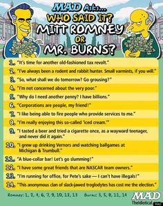 Who said it? Mitt Romney or Mr. Burns? Pretty funny and hard to guess.