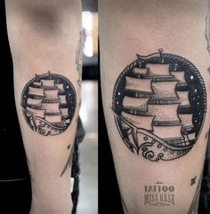 Small Ship Tattoo by Miss Hask