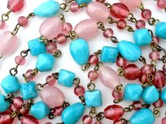 "Blue Pink 50"" Glass Bead Necklace Gilded Brass Vintage Flapper Length"