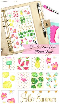 Free Printable Tropical Summertime Planner Stickers from Abbi Kirsten Collections