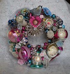 Vtg Dark Pink Bottle Brush Tree Jewelry Wreath w Poland Shiny Brite Ornaments | eBay