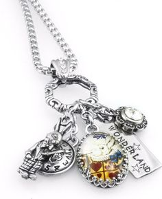 This Alice in Wonderland Jewelry, White Rabbit Silver Glass Charm Necklace features images of the White Rabbit from Alice in Wonderland, White Rabbit charm, pocket watch charm, Swarovski crystal in Mo