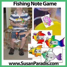 "Fishing Note Game | I use these cards to make a fishing note game. Students use a toy fishing pole to ""catch"" and identify notes on the staff."