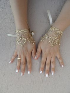 caramel lace glove, Damask pattern Wedding gloves bridal gloves fingerless lace gloves beaded pearl and rhinestone free ship
