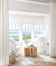 Beautiful All-White Beach House Tour White Beach Houses, Beautiful Beach Houses, Dream Beach Houses, Coastal Bedrooms, Coastal Living Rooms, Home Living Room, Living Room Decor, Beach House Tour, Beach House Decor