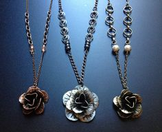 Unique Metallic Rose Chain Necklace by artXessories on Etsy, $23.00