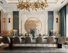 Home Room Design, Dining Room Design, Interior Design Living Room, Living Room Decor, Estilo Hollywood Regency, Luxury Dining Room, Luxury Living, Classic Interior, Luxury Homes Interior