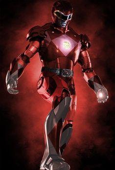 Iron Man x Red Power Ranger Power Rangers Zeo, Power Rangers Movie, Go Go Power Rangers, Mighty Morphin Power Rangers, New Iron Man, Iron Man Art, Tony Stark, Sub For Sub Youtube, Green Power Ranger