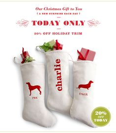 deck those halls with 20% off all trimmings- TODAY ONLY!