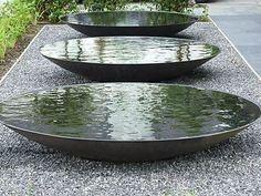 60cm Steel Water Bowl/Garden Water Feature/Dish/Metallic Grey