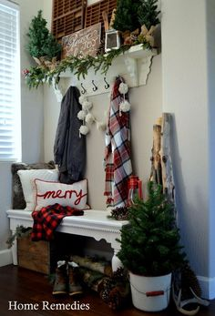 A Cozy Farmhouse Entryway - Rustic, warm, and welcoming farmhouse style entryway from HomeRemediesRx.com