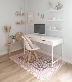 Study Room Decor, Cute Room Decor, Room Design Bedroom, Room Ideas Bedroom, Ideas For Bedrooms, White Desk Bedroom, Small Bedroom Office, Bedroom Office Combo, Small Office