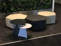 ESA hexaogonal #minimalist #pouf #design by #KazuhideTakahama in #1968 and ABRA #table design by #germandesigner Neuland Paster&Geldmacher in #HUNGRY #interiordesign #hotelfurniture #contractfurniture #interiors #decor #decoration #midcenturymodern #moderndesign