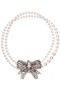 MiuMiu Pink Luster Pearls With Crystal Bow Clasp <3<3<3 #pearls www.finditforweddings.com