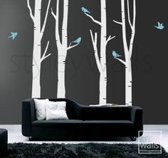 Birch Trees wall decal Winter tree decal and Birds by styleywalls, $79.00. For Mr. Weston's nursery!