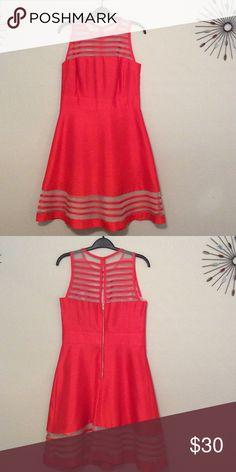 Summer Dress Brand new bright orange short sleeve dress. Sheer fabric on top and bottom of skirt. Taylor Dresses