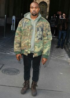 Camouflage is a timeless print. Check out these 15 celebs and decide if their look is hot or not. Kanye West Outfits, Kanye West Style, Kanye West 2016, Yeezy Outfit, Kim And Kanye, Camouflage Jacket, Yeezy Season, Mens Clothing Styles, Instagram Fashion