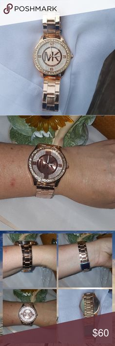 Watch Ladies micheal kor replica watch. This is rose gold tone stainless steel watch. Beautiful oversized face highlighted with studded pave crystals around the bezel, face has signature MK & numbers set in shiny sand affect pave crystals making them really sparkle.  Adjustable deployant clasp closure. New without tags. check out my closet for great buys create a bundle of 2 or more non clearance clothes items i will accept 20% offers & clearance items marked as following 🇺🇸 are already…