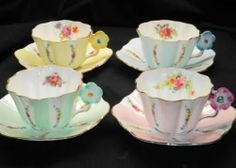 ROYAL STUART SET OF 4 COLLECTION Flower Handle TEA CUP AND SAUCER on ebay