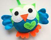 Eco friendly Felt owl Plush toy, Green and Turquoise big eyes Owl