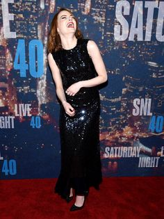 Emma Stone cracked up at the SNL 40th Anniversary Celebration at Rockefeller Plaza on Feb. 15 in New York.
