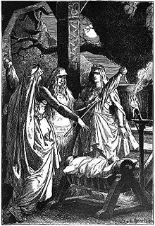 Norns, Norse goddesses of destiny, The Norns spin the threads of fate at the foot of Yggdrasil, the tree of the world.