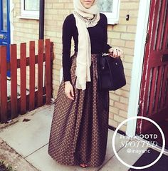 "islamic-fashion-inayah: "" - Green Brocade Maxi Skirt - http://bit.ly/1tdHu6K www.inayahcollection.com "" Casual Hijab Outfit, Hijab Dress, Muslim Dress, Eid Outfits, Hijab Fashion Inspiration, Modest Wear, Hijab Tutorial, Muslim Fashion, Islamic Fashion"