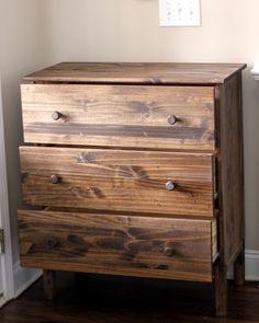 Minwax Special Walnut stain on a cheap Ikea Tarva dresser.