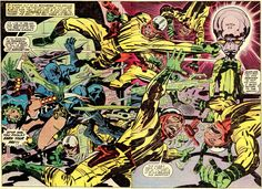 Incredible Jack kirby double page spreads from his stint on Black Panther. Comic Book Artists, Comic Books Art, Comic Art, Book Cover Art, Comic Book Covers, Marvel Art, Marvel Comics, Amazing, Libros