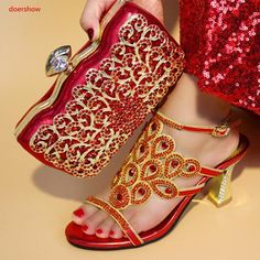 ad1b4885e7 doershow New Arrival Italian Women Shoe and Bag Set