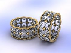 Special order filigree CAD ring in gold and silver - Fia Fourie