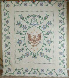 BEAUTIFUL-Vintage-40s-Eagle-Stars-Heart-Patriotic-Antique-Quilt-Vine-Border