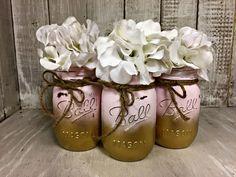 Set of 3 Pink Gold Ombre MASON JARS, Painted Mason Jars, Mason Jar Vases, Shabby Chic, Weddings, Showers, Decor, Vintage Jar, Antique Jar by BowtiqueBurlap on Etsy